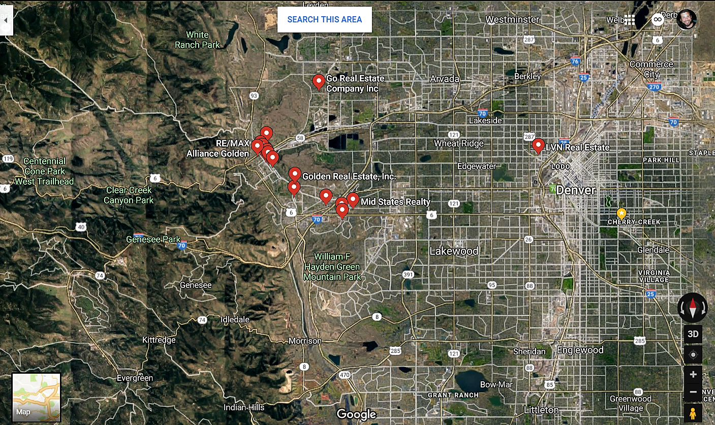 Golden Colorado Google Maps Real Estate Realtors and Mortgage Loans