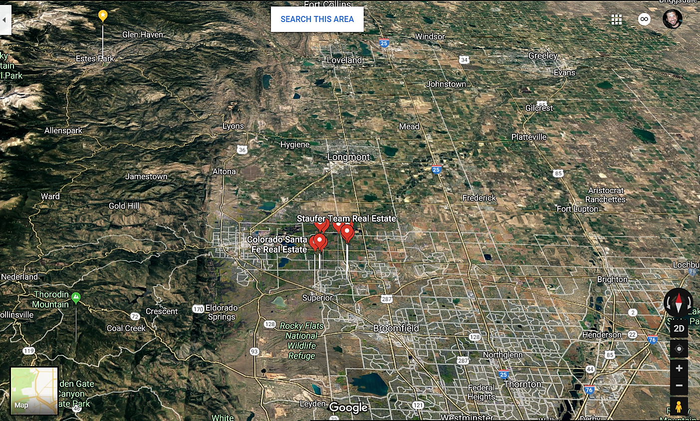 Louisville Colorado Google Maps Real Estate Realtors and Mortgage Loans