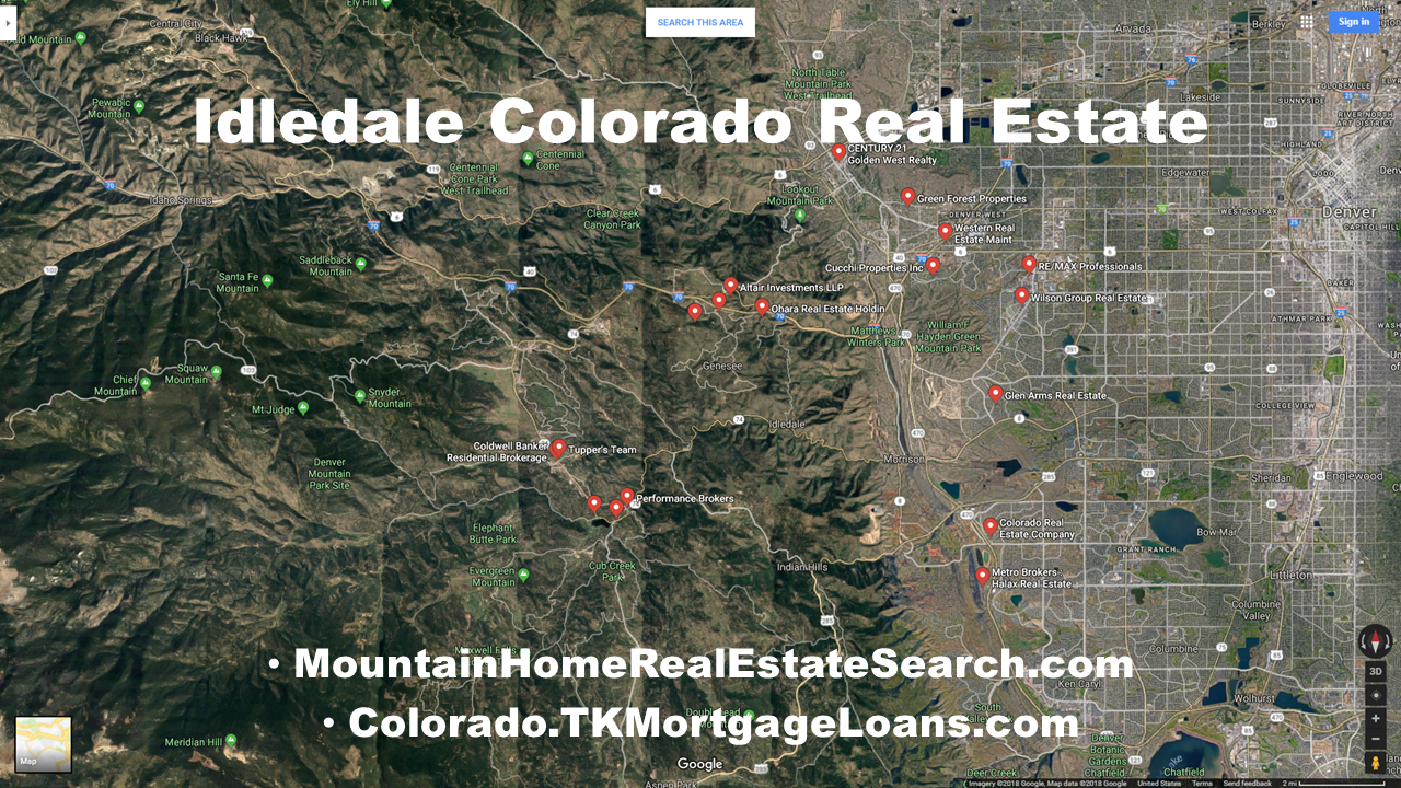 Idledale Colorado Google Maps Real Estate Realtors and Mortgage Loans